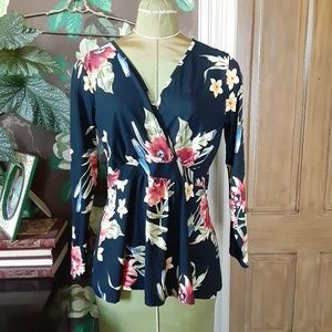 Wrap Style Floral Top